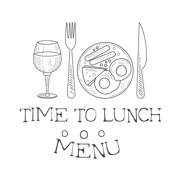 Cafe Lunch Menu Promo Sign In Sketch Style With English