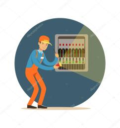 electrician engineer repairing equipment in fuse box with flashlight electric man performing electrical works vector illustration stock illustration [ 1024 x 1024 Pixel ]