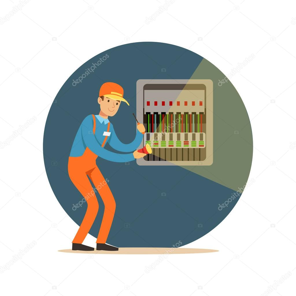 hight resolution of electrician engineer repairing equipment in fuse box with flashlight electric man performing electrical works vector illustration stock illustration
