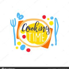 Kitchen Signs For Work Microfiber Rug 彩色手工制作的烹饪食品俱乐部标志模板 图库矢量图像 C Topvectors 五颜六色的手绘徽章或烹饪食品的标签设计时间 在盘子上刻字 有刀叉 烹饪俱乐部 烹饪学校 食品工作室或家庭厨房的标志