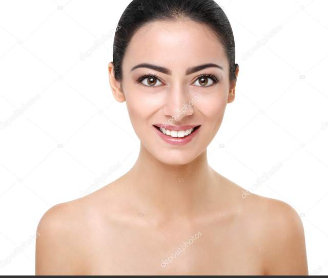 Beautiful Smiling Indian Girl With Perfect Skin Make Up Closeup Beauty And Health Care Ideal Closeup Portrait Of Brunette Isolated On White Background