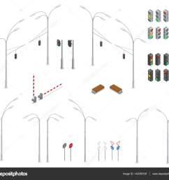 traffic light street lights stop road bench infographic collection vector by galaktika new [ 1024 x 921 Pixel ]