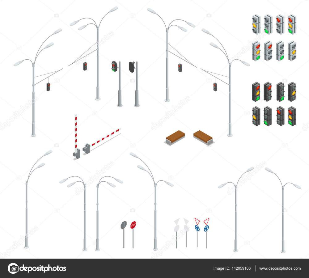 medium resolution of traffic light street lights stop road bench infographic collection vector by galaktika new