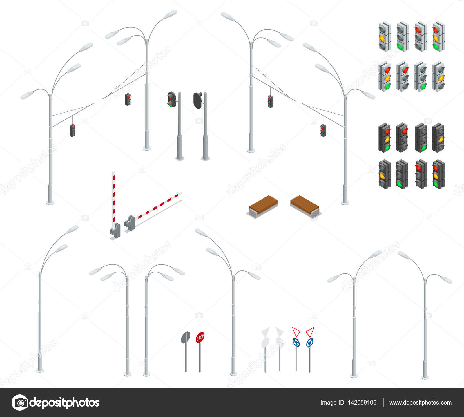 hight resolution of traffic light street lights stop road bench infographic collection vector by galaktika new