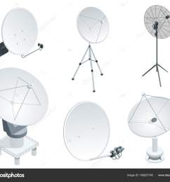 isometric set satellite dish antennas on white wireless communication equipments flat vector illustration can be used for workflow layout game diagram  [ 1024 x 860 Pixel ]