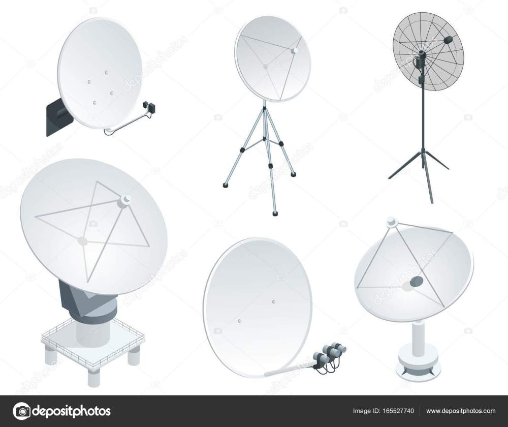 medium resolution of isometric set satellite dish antennas on white wireless communication equipments flat vector illustration can be used for workflow layout game diagram