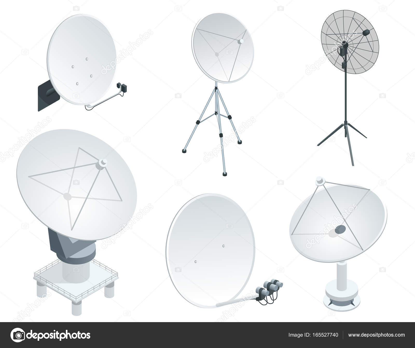 hight resolution of isometric set satellite dish antennas on white wireless communication equipments flat vector illustration can be used for workflow layout game diagram