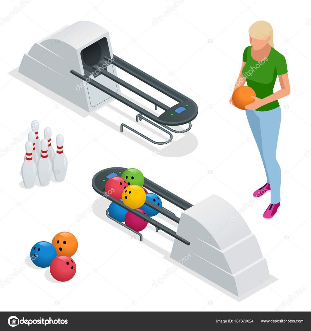 medium resolution of isometric bowling pins at bowling machine a bowling ball return right out of a bowling