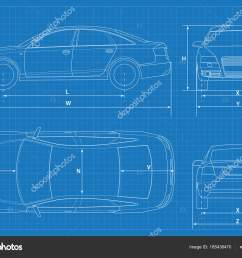 car schematic or car blueprint vector illustration sedan car in outline business sedan [ 1600 x 1179 Pixel ]