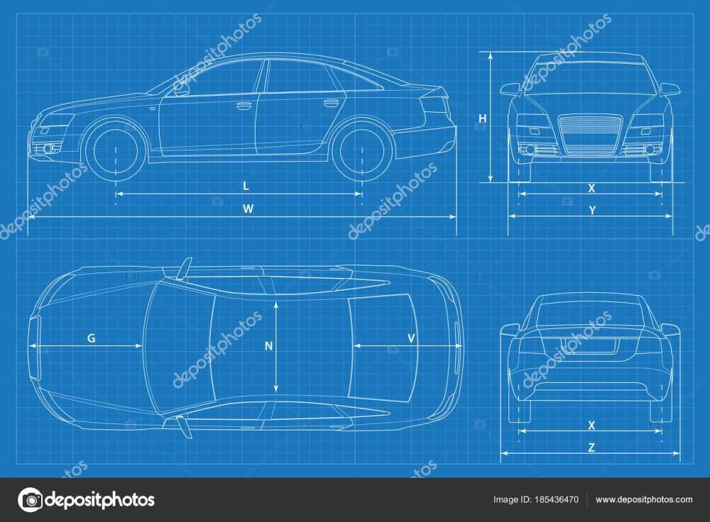 medium resolution of car schematic or car blueprint vector illustration sedan car in outline business sedan