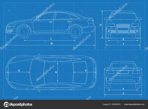 small resolution of car schematic or car blueprint vector illustration sedan car in outline business sedan