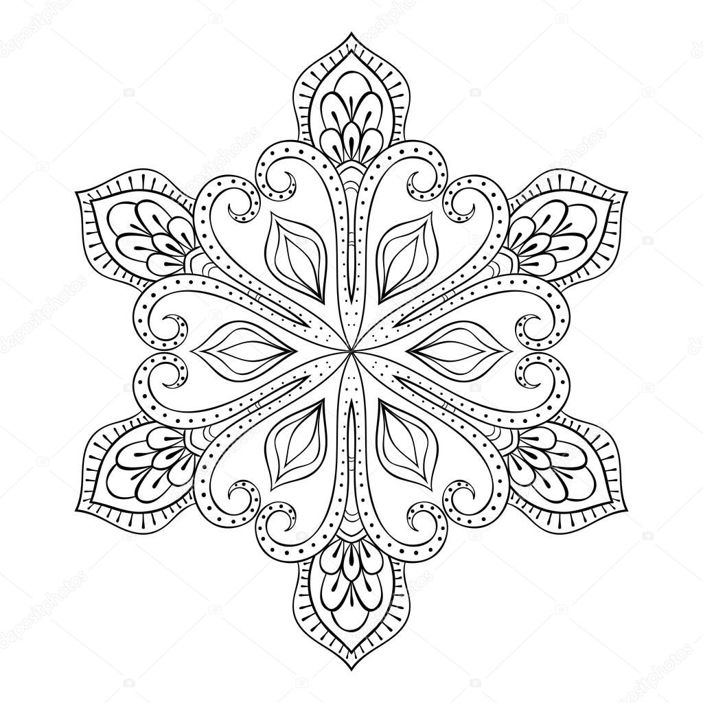 Vector snow flake in zentangle style, doodle mandala for