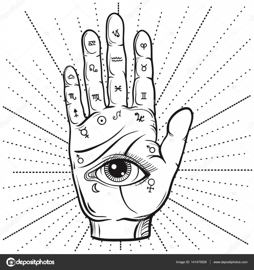 Fortune Teller Hand with Palmistry diagram, handdrawn all