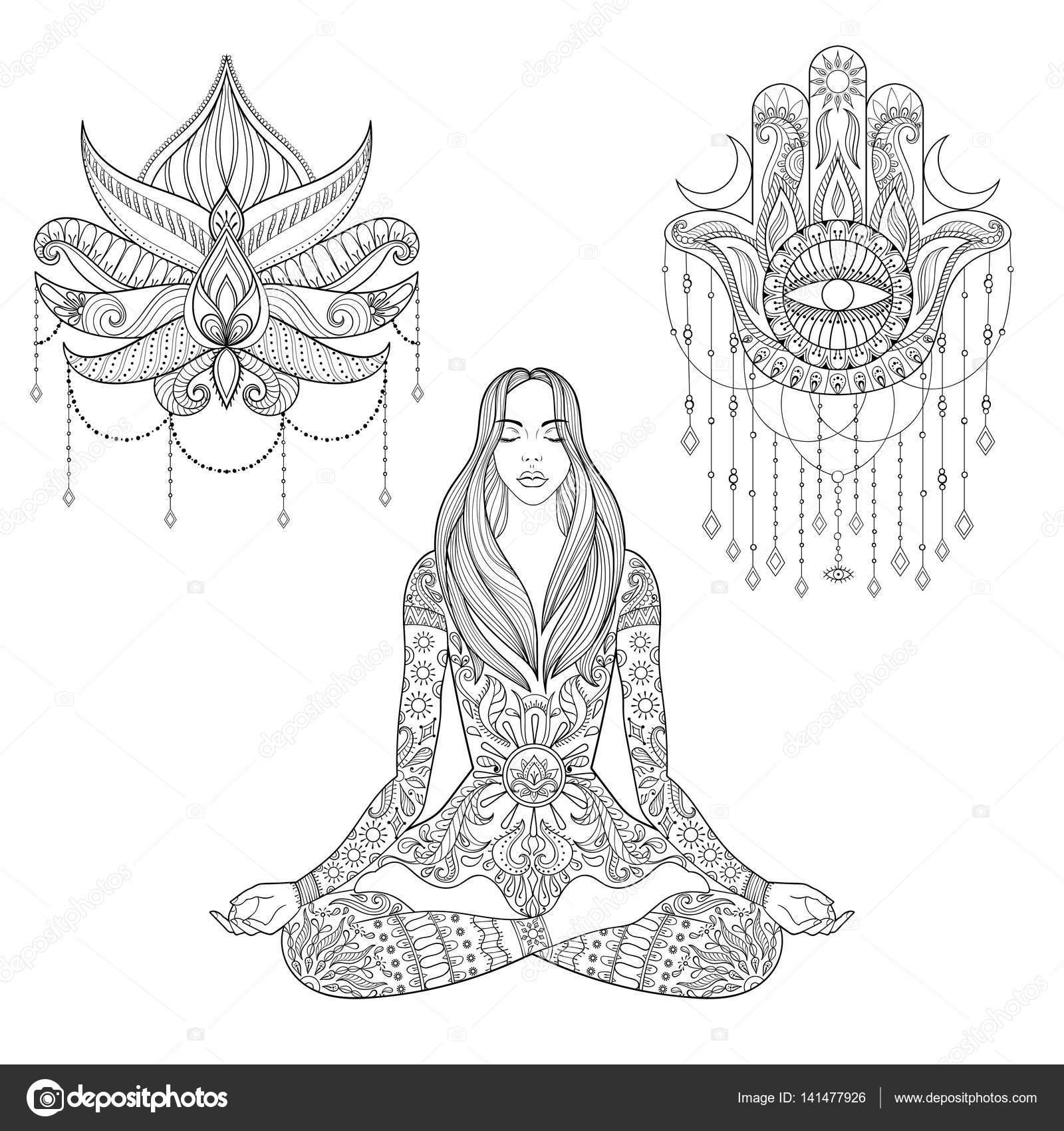 Silueta De Mujer Sentada Dibujo Mujer Sentada En Posición De Loto