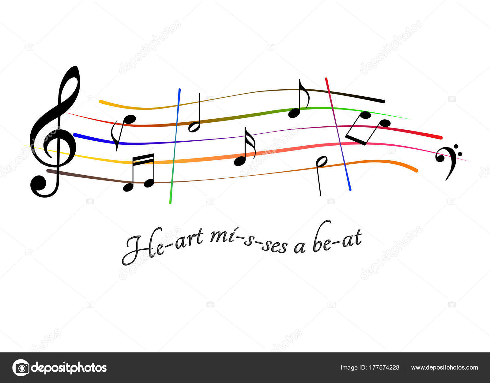 hight resolution of musical score heart misses a beat stock photo