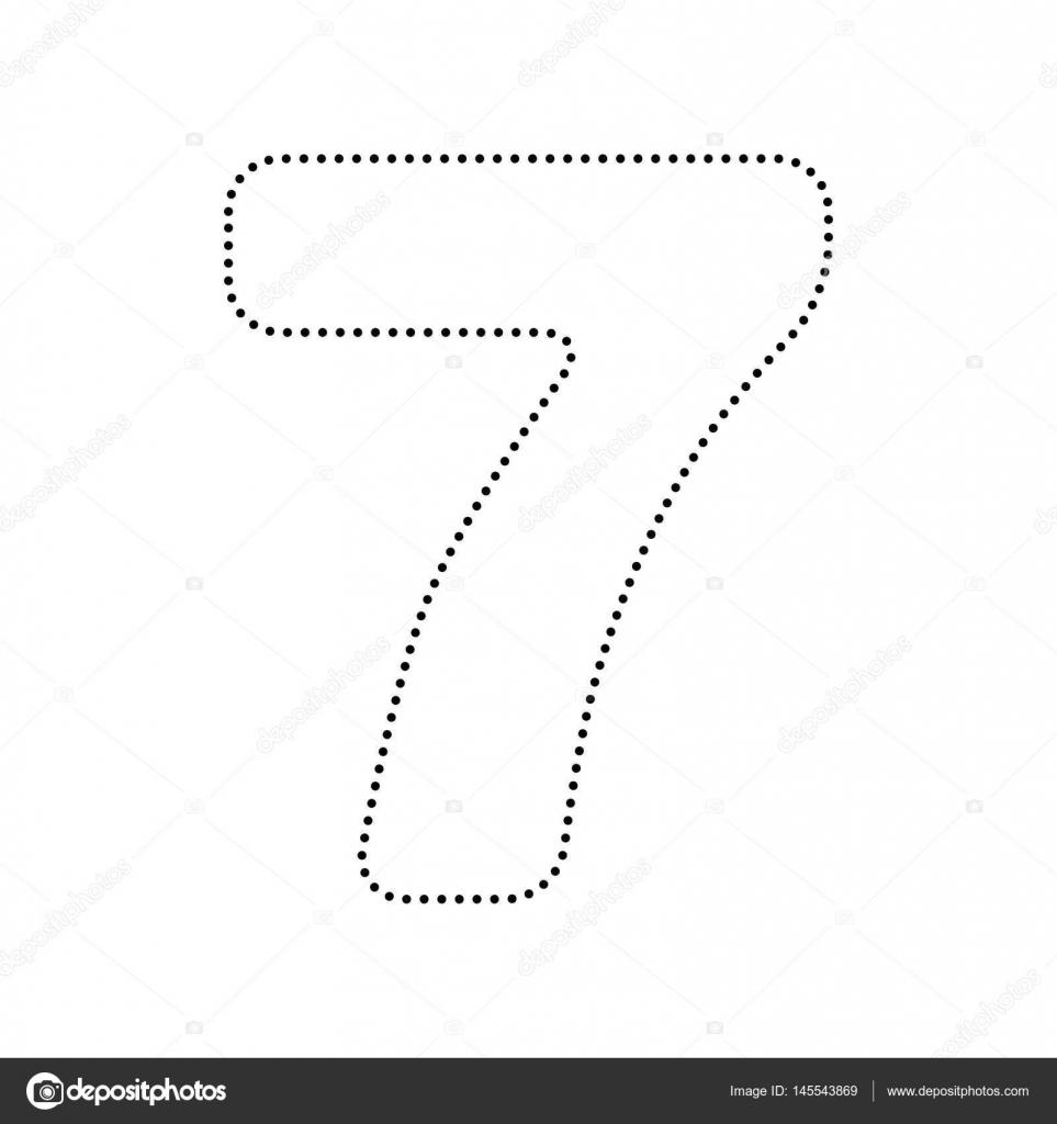 Number 7 Sign Design Template Element Vector Black