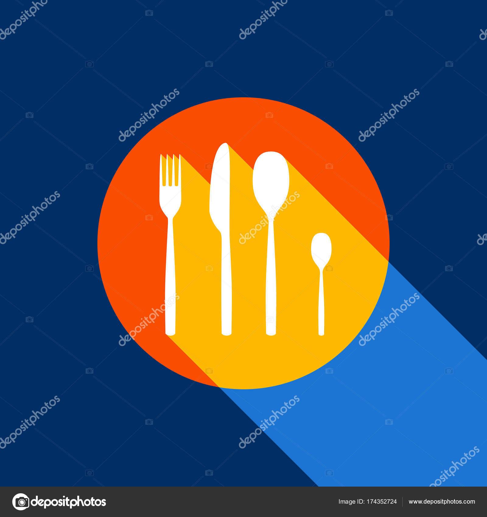 cool kitchen knives 6 foot island 叉子勺和刀的符号 矢量 白色的图标在柚的圆圈与无限阴影的光在凉爽的 白色的图标在柚的圆圈与无限阴影的光在凉爽的黑色背景 有选择的黄色和明亮的海军蓝色被生产