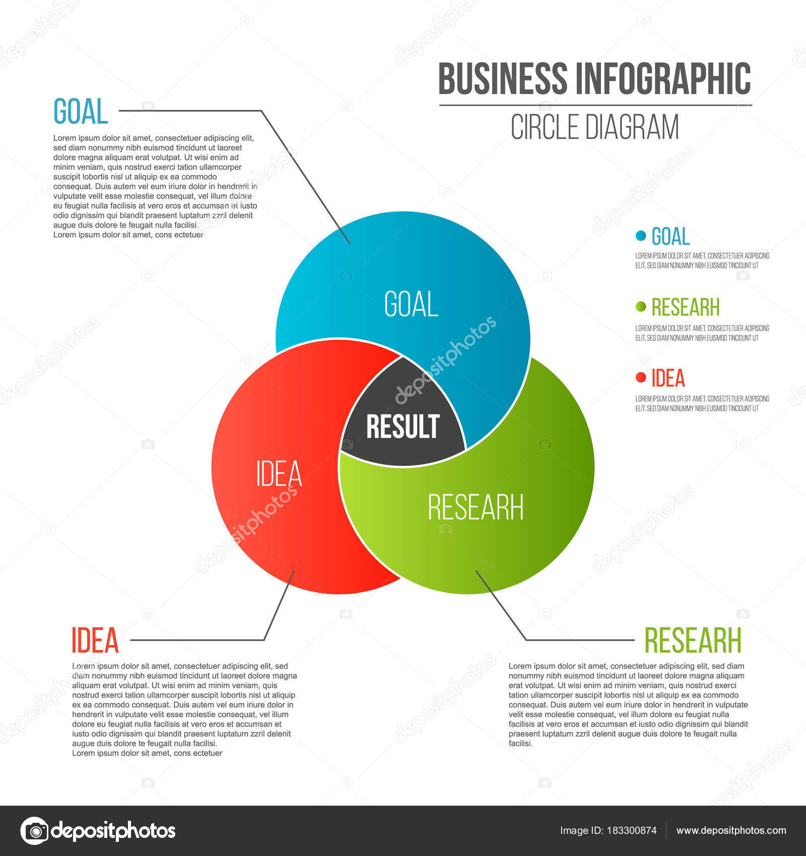 hight resolution of creative vector illustration of business presentation slide template circle venn diagram isolated on transparent background
