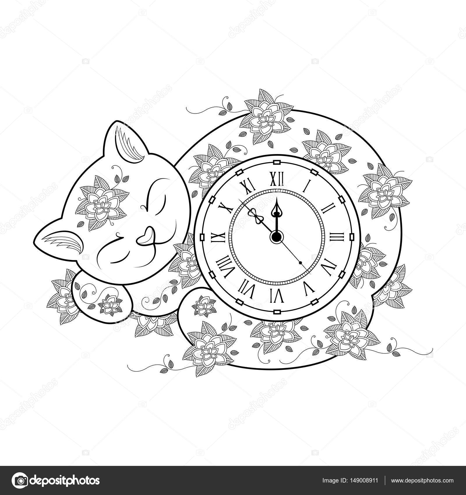 Kitty Cat Clock Coloring Page How To Draw Cheshire From Alice In