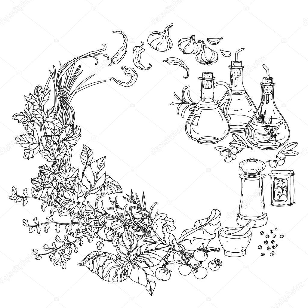 libro da colorare di cucina italiana — Vettoriali Stock