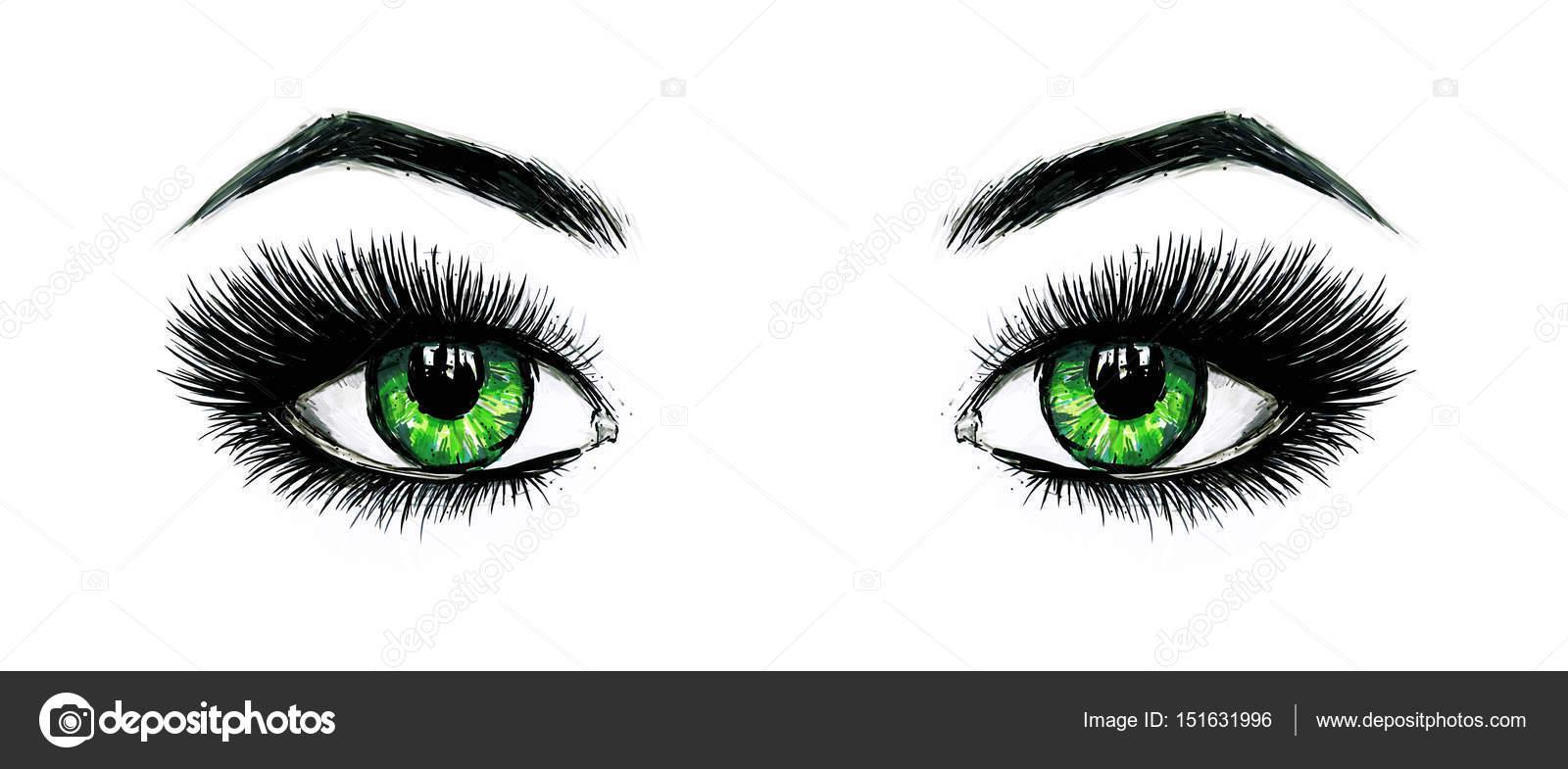 Belos olhos verdes femininos abertos com cílios longos é