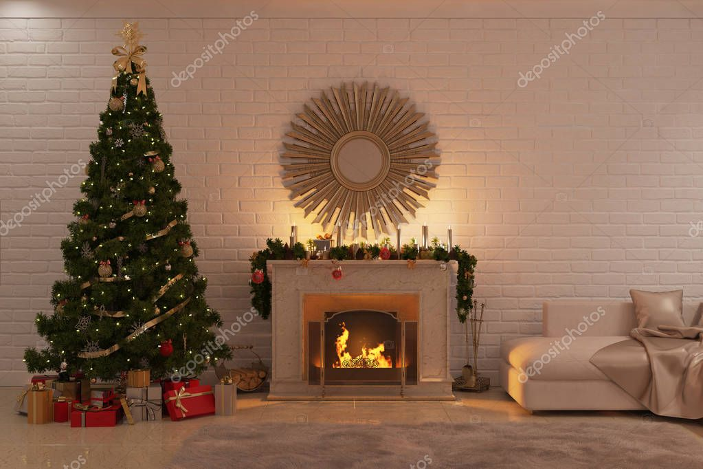 Christmas livingroom with fireplace tree and presents