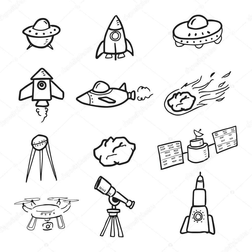 Spaceship And Cosmos Cartoon Drawing Icons