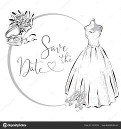 wedding clipart set with wedding dress flowers and wedding rings black and white wedding [ 1600 x 1700 Pixel ]