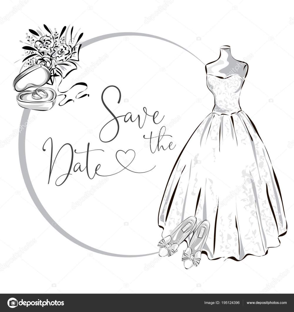 medium resolution of wedding clipart set with wedding dress flowers and wedding rings black and white wedding