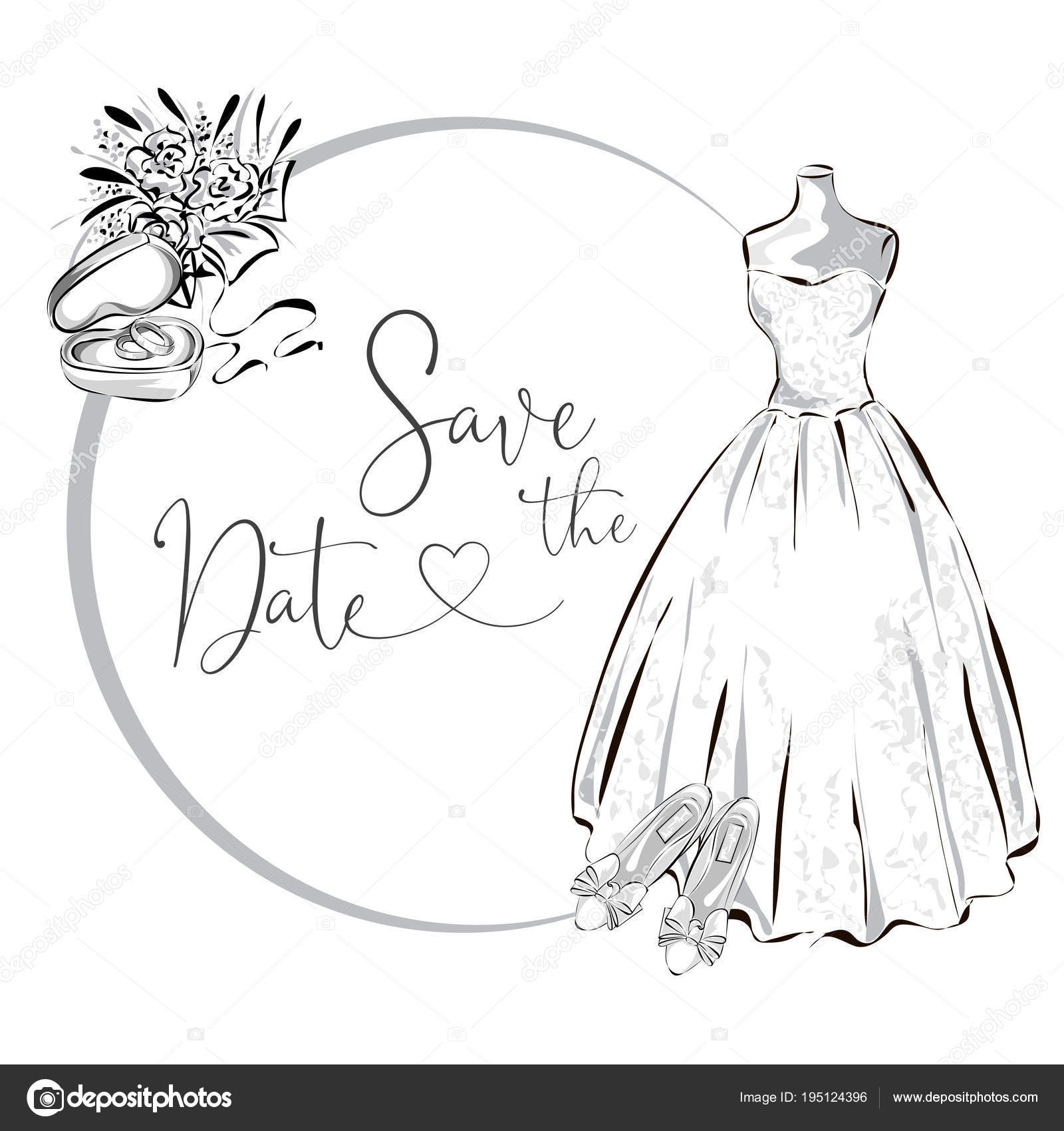 hight resolution of wedding clipart set with wedding dress flowers and wedding rings black and white wedding