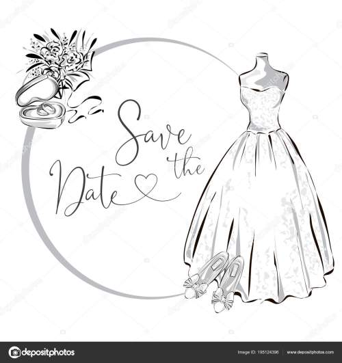 small resolution of wedding clipart set with wedding dress flowers and wedding rings black and white wedding