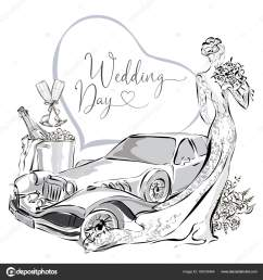 wedding clipart set with beautiful bride wedding limousine and champagne in ice bucket black [ 1600 x 1700 Pixel ]