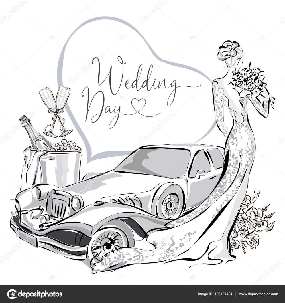 medium resolution of wedding clipart set with beautiful bride wedding limousine and champagne in ice bucket black