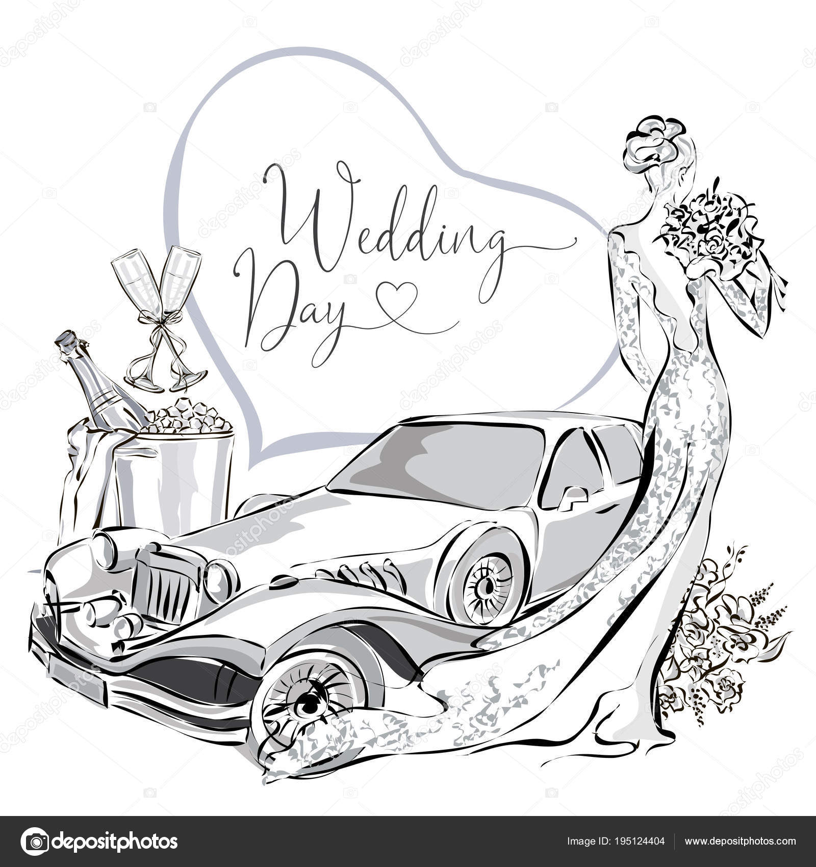hight resolution of wedding clipart set with beautiful bride wedding limousine and champagne in ice bucket black