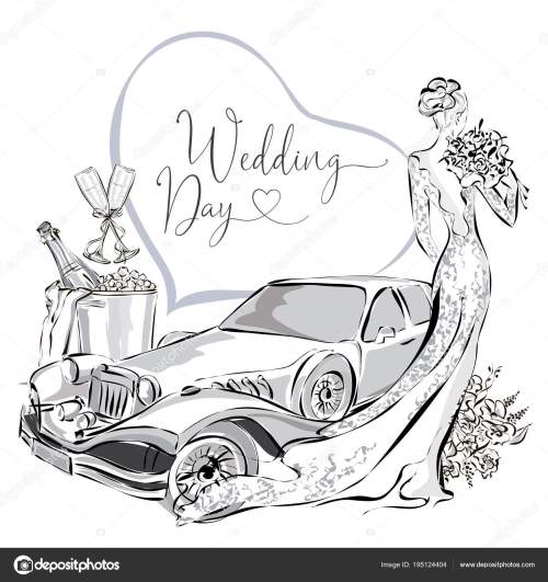 small resolution of wedding clipart set with beautiful bride wedding limousine and champagne in ice bucket black