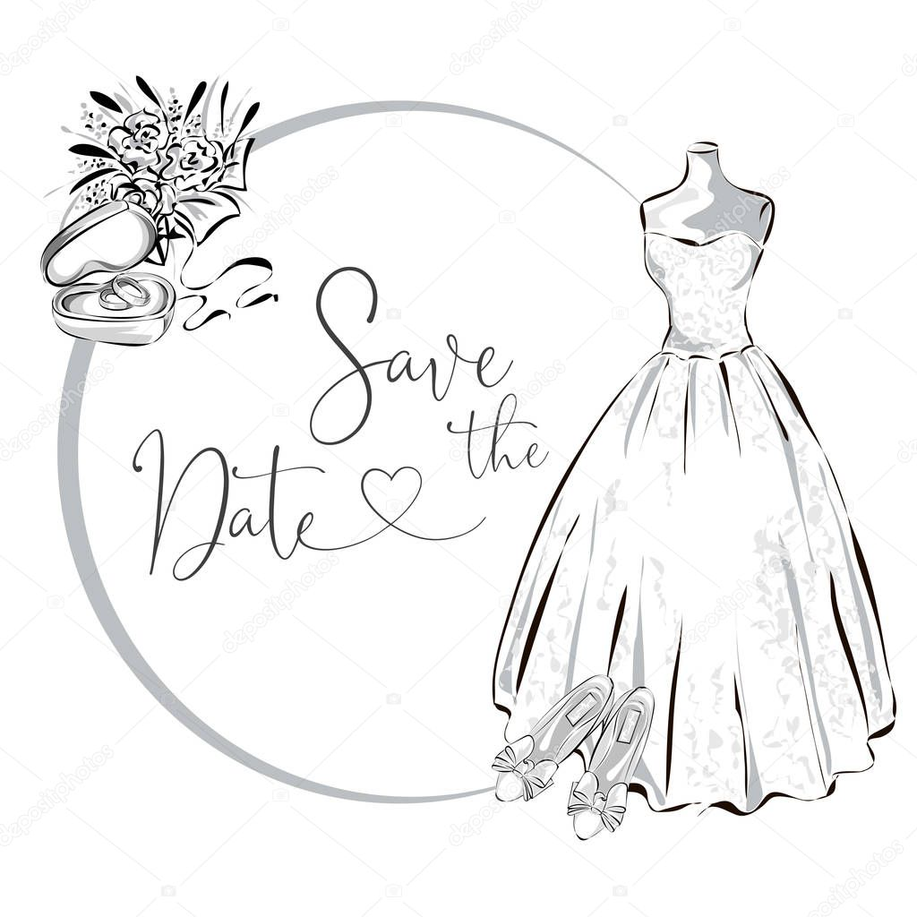 Wedding Clipart Set With Wedding Dress Flowers And