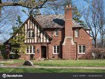Brick English Tudor House With Slate Roof Stock