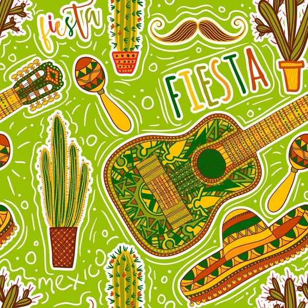 Mexican Fiesta Seamless Pattern Background — Stock Vector
