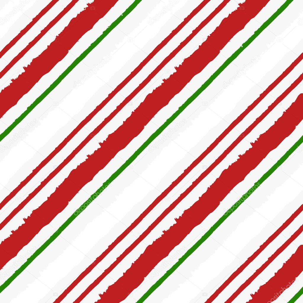Candy Cane Grunge Stripes Seamless Pattern