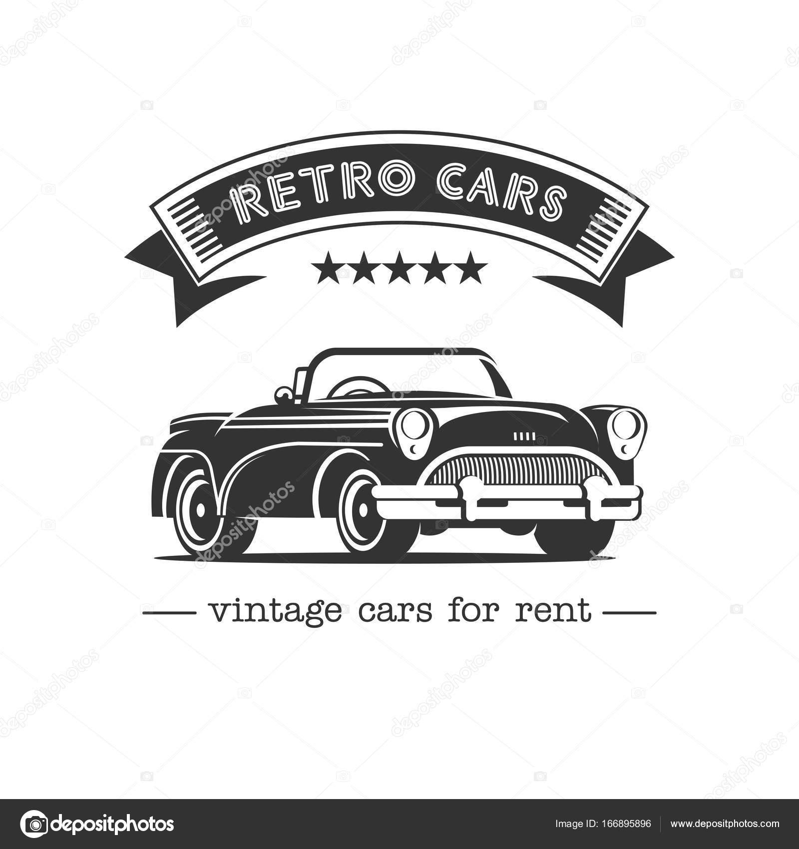 Carro antigo. Venda, locação de carros antigos. Logotipo