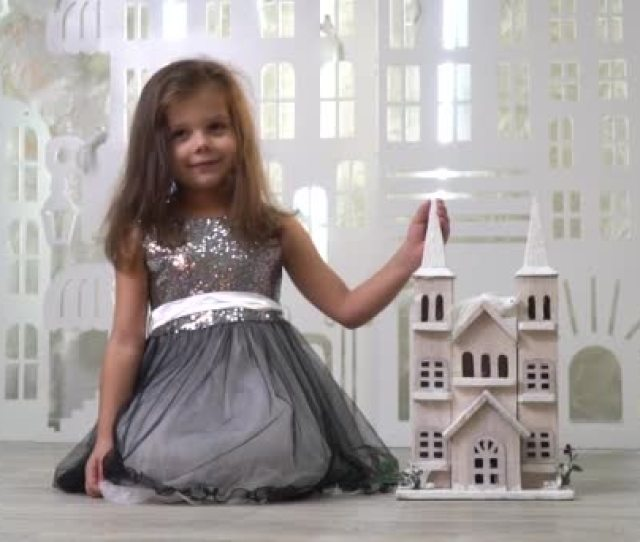 A Kind Girl In A Gray Dress With Sparkles Smiles And Holds A Toy Palace