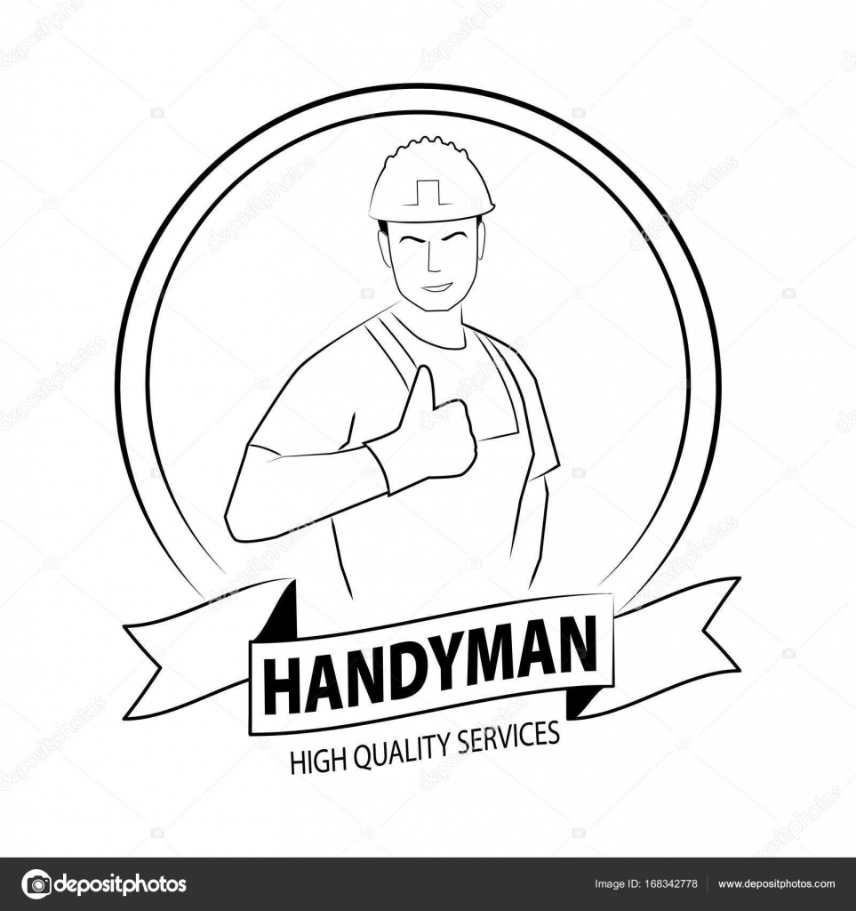 Professional handyman services logo. Silhouette of