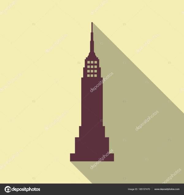 Vector Illustration. Poster.empire State Building High-rise Tourist Attraction In