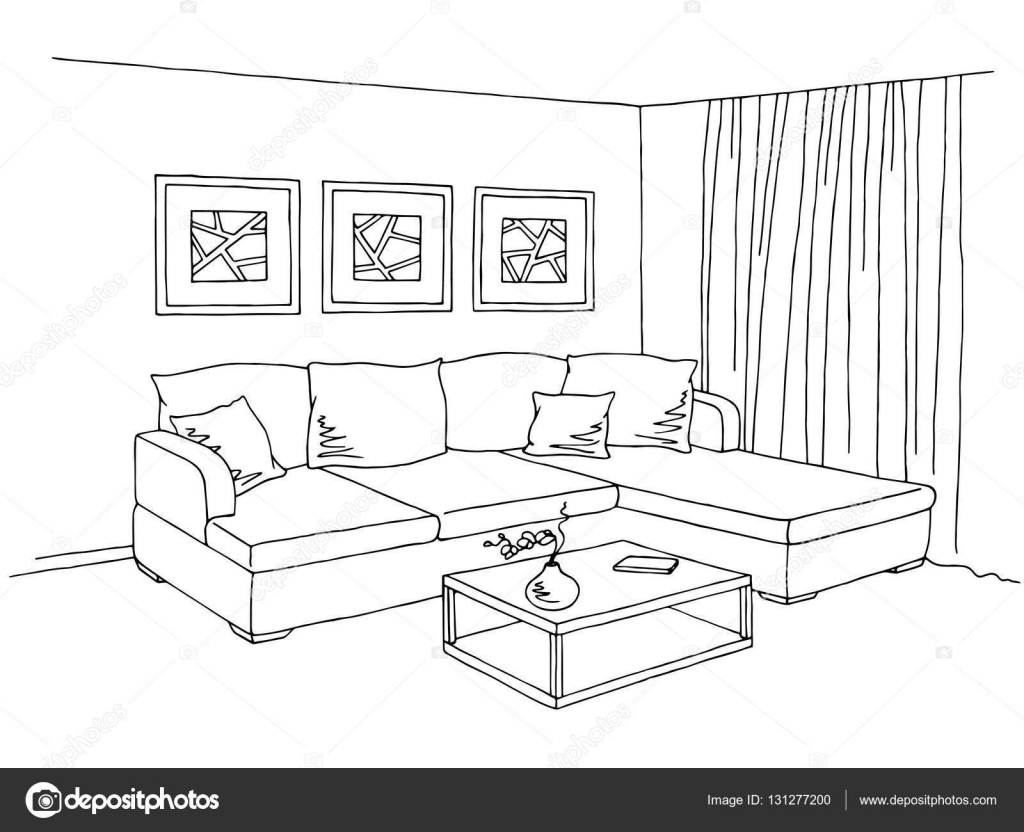 Living Room Black And White Clipart