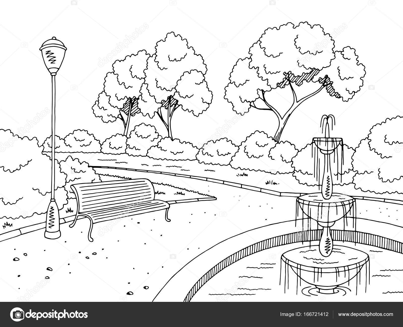 Park fontanna graficzny czarny biały krajobraz szkic