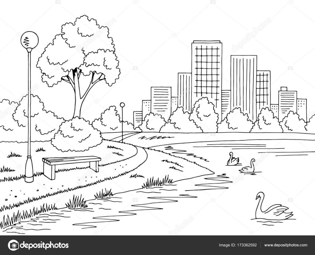 Parque lago gráfico preto branco paisagem esboço