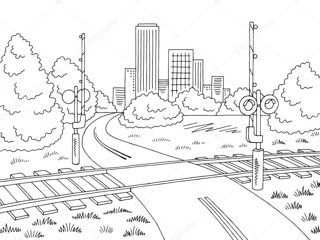 Vector Ilustracion Del Ferrocarril Cruce Carretera Ciudad