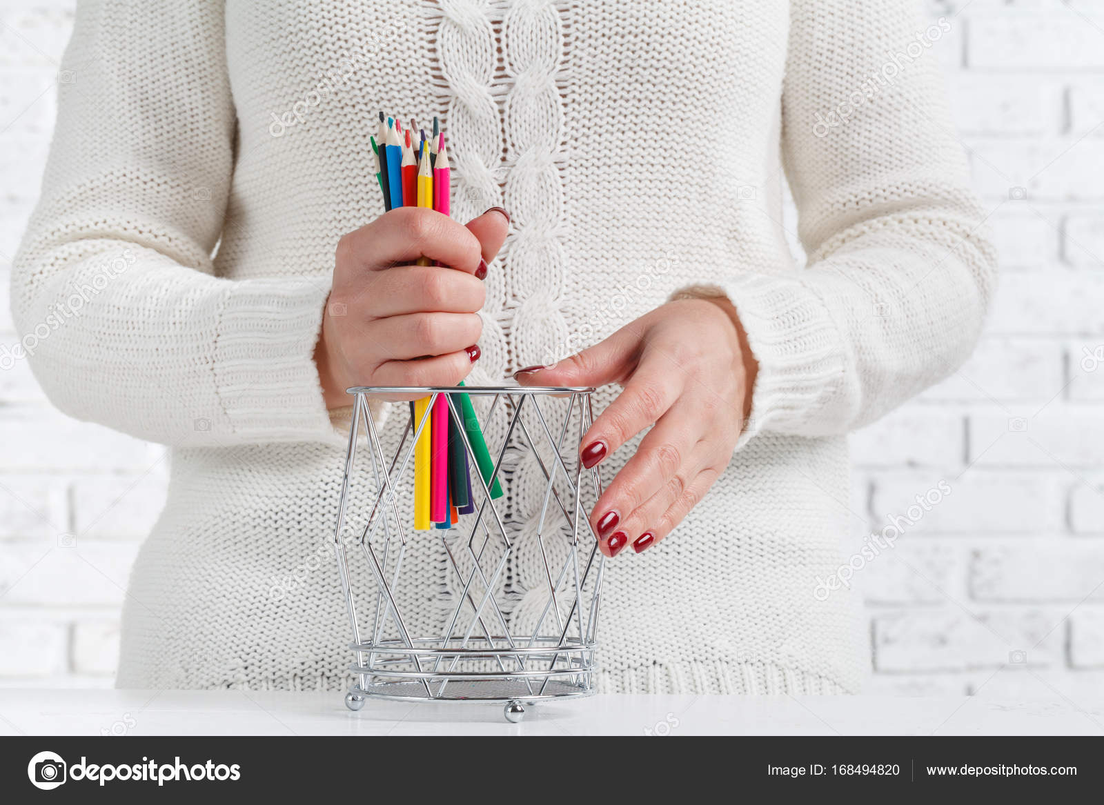 hight resolution of bunch of colored pencil in woman hands art design concept photo by andreycherkasov