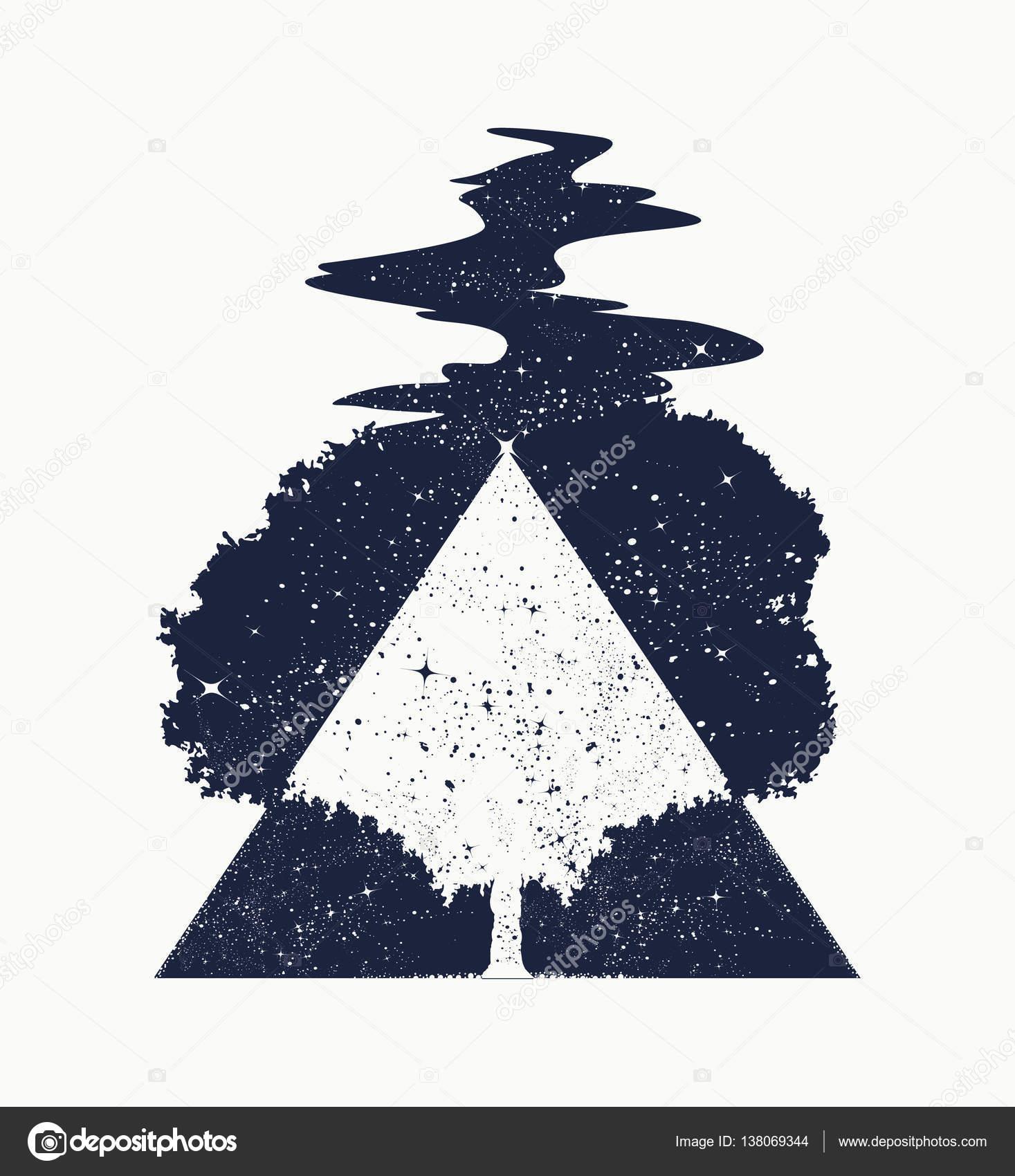 Arte Del Tatuaje De árbol De La Vida Símbolo De La Vida Y La Muerte