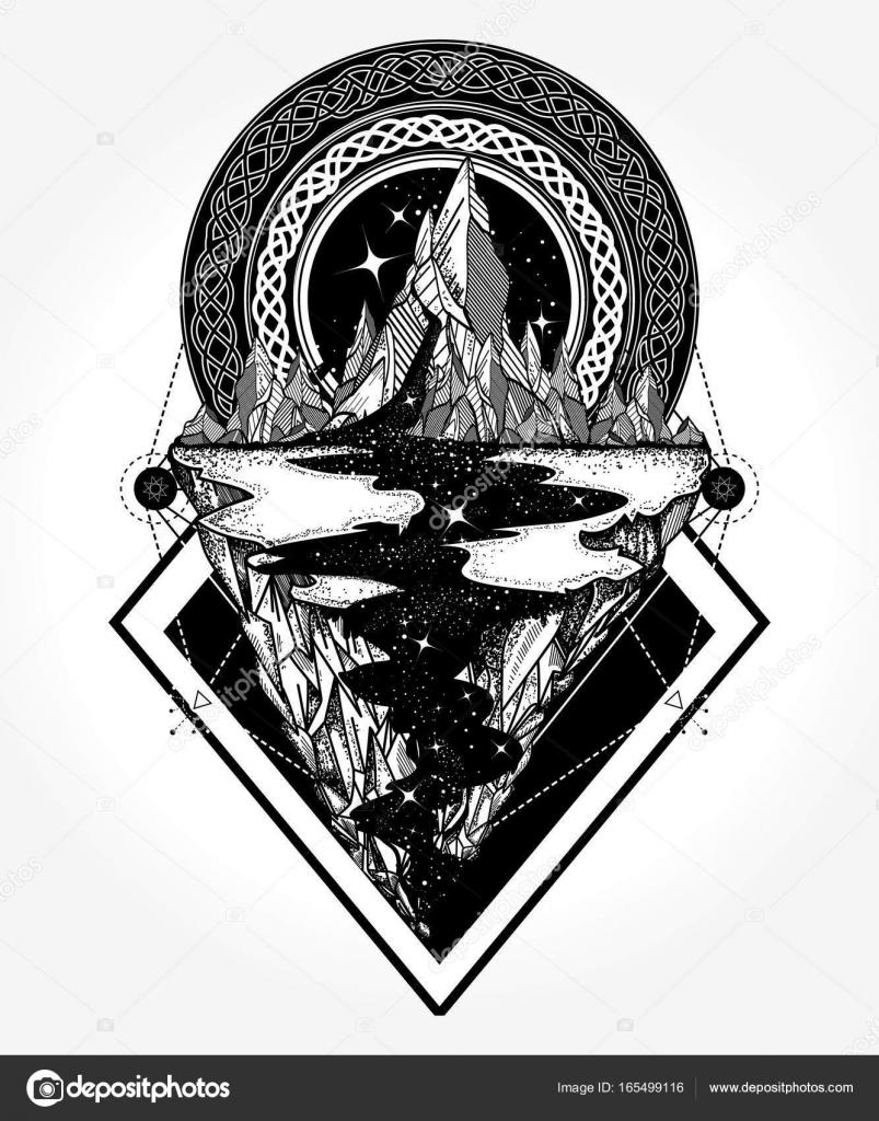 Diseño De Tatuaje De Montañas Y Camiseta Aventura Viajes Al Aire